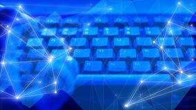 Flusso di flusso continuo di Digital, rete di computer, cyberattack globale del blockchain cyber di sicurezza immagini stock libere da diritti