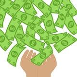 Flusso di denaro che cade alle mani da sopra Concetto produttivo Fotografie Stock Libere da Diritti