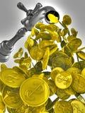Flusso di denaro dal rubinetto del metallo Fotografie Stock