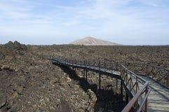 Flusso di lava di Timanfaya Immagini Stock