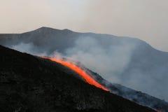 Flusso di lava sul vulcano dell'Etna Fotografia Stock Libera da Diritti