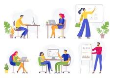 Flusso di lavoro dell'ufficio Gente di affari lavorante, lavoro di squadra a distanza ed insieme piano dell'illustrazione di vett illustrazione vettoriale
