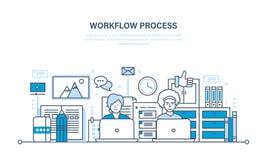 Flusso di lavoro, posto di lavoro, ambiente, software ed hardware, comunicazione trattata di pensiero illustrazione vettoriale
