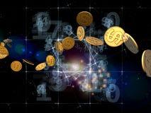 Flusso dorato del dollaro Immagine Stock