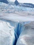 Flusso e crevasse glaciali. Fotografia Stock