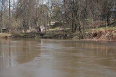 Flusso rapido durante l'inondazione Fotografie Stock Libere da Diritti