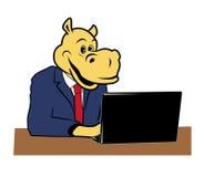 Flusspferd im Büro lizenzfreie abbildung
