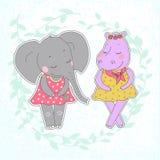 Flusspferd- und Elefantmädchen mit den geschlossenen Augen, die einen Blumenkranz auf dem Kopf haben Stockbild