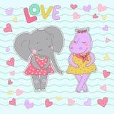Flusspferd- und Elefantmädchen mit den geschlossenen Augen, die einen Blumenkranz auf dem Kopf haben Stockfotos