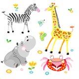 Flusspferd und zhirf mit einem Zebra Lizenzfreie Stockfotos