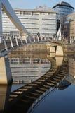 Flussreflexion der Brücke und der Gebäude Lizenzfreies Stockfoto
