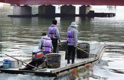 Flussreinigerstand auf einem Boot stockbilder