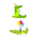 Flussreptilrauballigatorflache Vektorillustration der wild lebenden Tiere des Krokodils der Karikatur grüner lustiger australisch Lizenzfreie Stockfotos