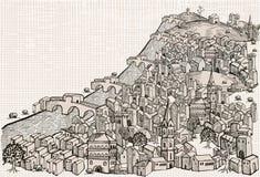 Flussstadt - Zeichnung