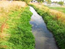Flussstrom Herbstfeld Stockbild