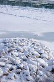 Flussufer verstärkt mit Felsen im Winter Lizenzfreie Stockfotografie