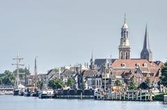 Flussufer von Kampen, die Niederlande Stockfotos