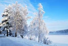 Flussufer von Vuoksi. Imatra, Finnland Lizenzfreies Stockbild