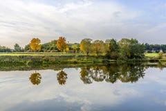 Flussuferszene mit Bäumen, die im Fluss Tauber reflektiert werden Lizenzfreies Stockbild