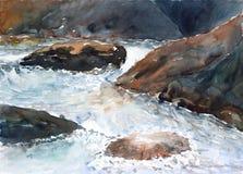 Flusswasseraquarell gemalt Lizenzfreies Stockbild