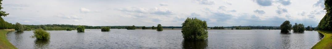 Flut auf dem Fluss Oder Stockbilder