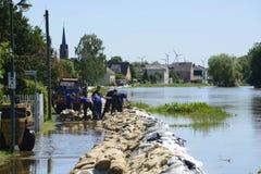 Flut auf Fluss Elbe, Deutschland 2013 Lizenzfreie Stockfotografie