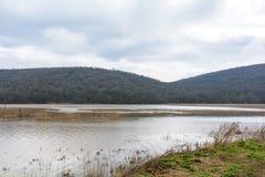 Flut - ein natürliches Phänomen Verschütteter See Stockfotografie