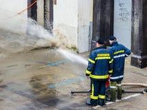 Flut im Jahre 2013 im steyr, Österreich Lizenzfreie Stockfotos