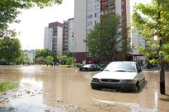 Flut im Wroclaw, Kozanow 2010 Stockfotos