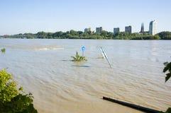 Flut in Polen - Warschau Stockbild