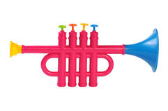 Flute. Colorful children's flute on a white background Stock Photos