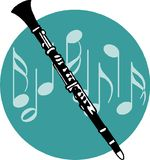 Flute. Black and white flute on musical blackground Stock Photos