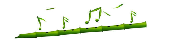 Flute. Bamboo flute  on isolated background..music symbols around the flute Royalty Free Stock Photography