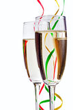 Flute Champagne glasses with paper streamers Stock Photography