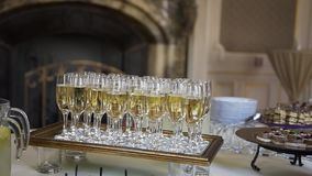 Flute of cold white champagne or sparkling wine standing on the tray at a festive event or celebration stock video footage