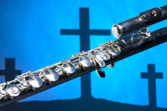Flute on Cross Background Royalty Free Stock Image