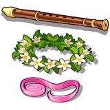 Flute, flower wreath and pink tape. Set of three items isolated on white background. Vector in cartoon style. Flute, flower wreath and pink tape. Set of three Royalty Free Stock Photo