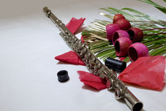 Flute and Flowers Royalty Free Stock Images