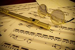 Flute and Glasses Stock Photos