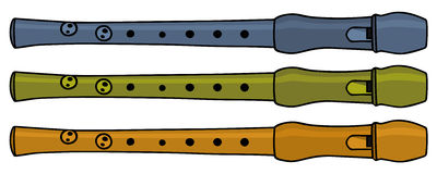 Flute. Hand drawing of three plastic recorders Royalty Free Stock Photos