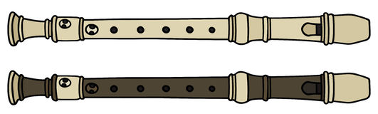 Flute. Hand drawing of two flutes Stock Photography
