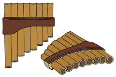 Flute. Hand drawing of a wooden pipe Royalty Free Stock Photo
