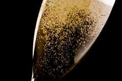 A flute with a lot of gold bubbles Royalty Free Stock Images
