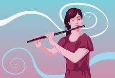 Flute a melodia da música Imagem de Stock Royalty Free
