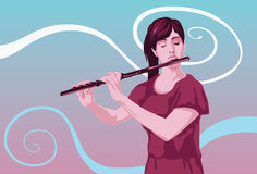 Flute The Melody of Music. An image showing a girl playing a flute Royalty Free Stock Image