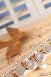 Flute on music Royalty Free Stock Photography
