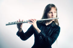 Flute music instrument flutist musician playing. Classical orchestra instruments Royalty Free Stock Photos