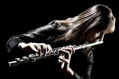 Flute music instrument flutist musician playing. Classical orchestra instruments Royalty Free Stock Images