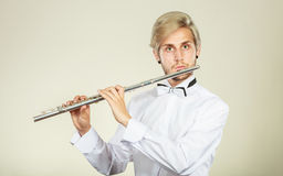 Flute music playing flutist musician performer Royalty Free Stock Images