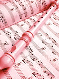 Flute and music score Royalty Free Stock Image